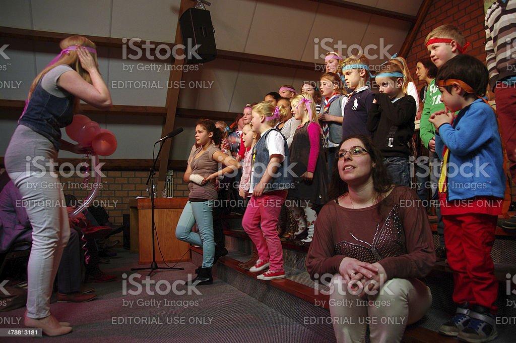 Children event in the local Church stock photo