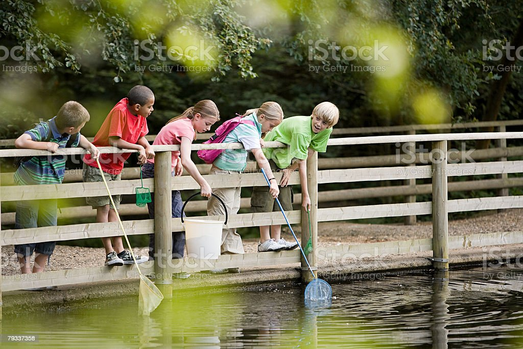 Children fishing stock photo