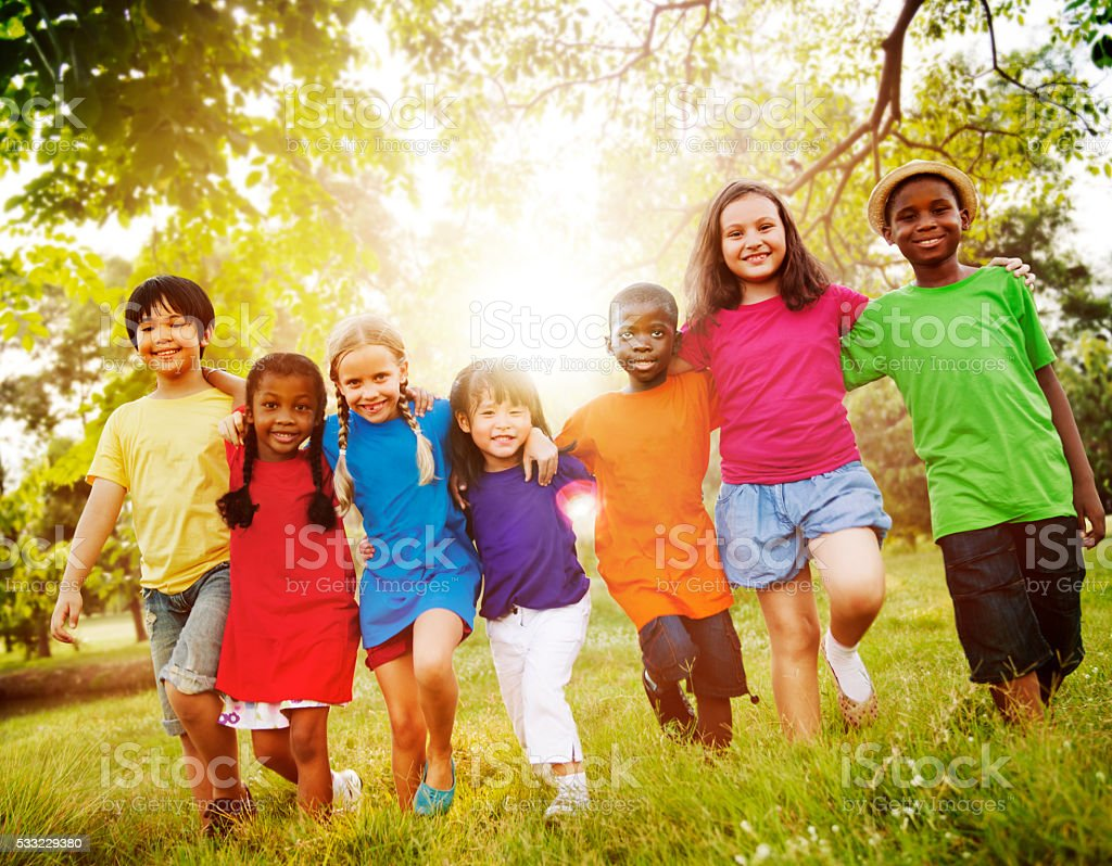Children Friendship Togetherness Smiling Happiness stock photo