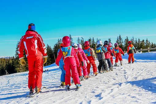 istock Children from ski school groups during the annual winter school 495957750