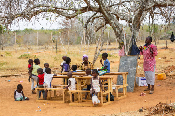 MALINDI, KENYA - JAN 25, 2017: Children from small local village attending open air primary school.