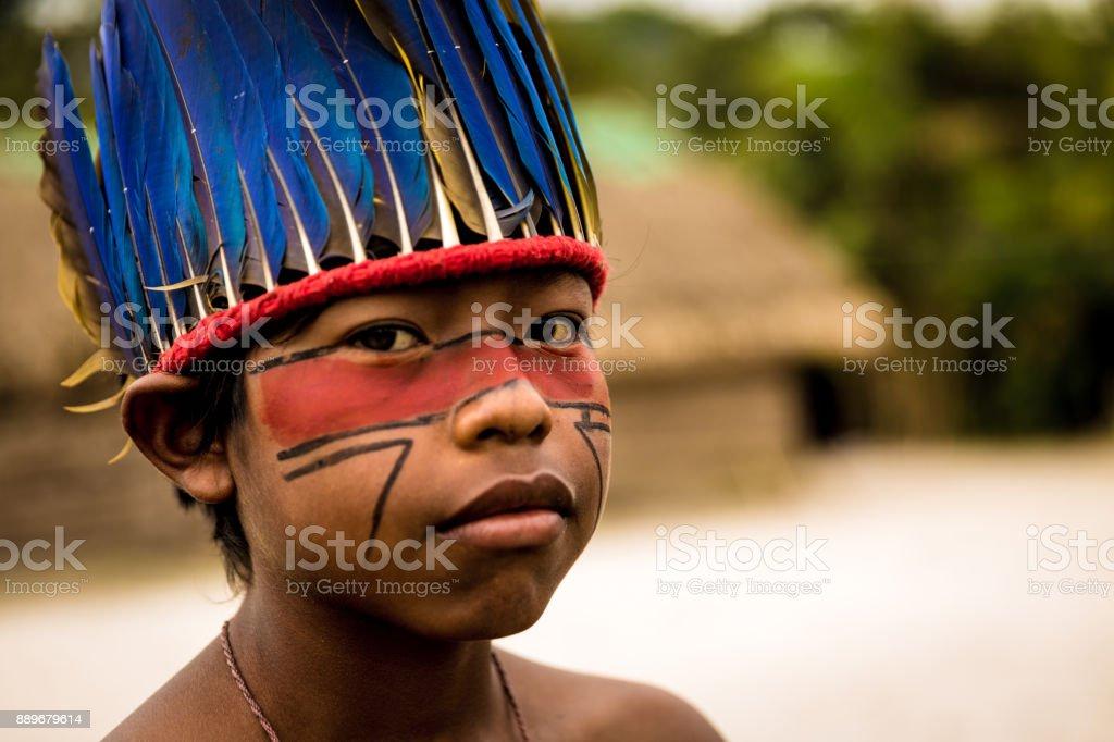 Children from Tupi Guarani tribe in Manaus, Brazil stock photo