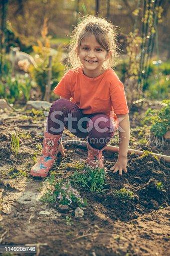 Kid helping in a garden