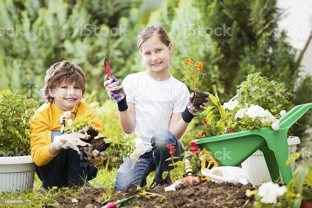 Children gardening. royalty-free stock photo
