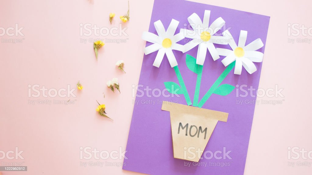 Children Gift For Birthday Or Mothers Day How To Make Paper Flower For Greeting Card Step 15final Result Art Project Step By Step Instructions Easy Paper Applications Diy Concept Stock Photo