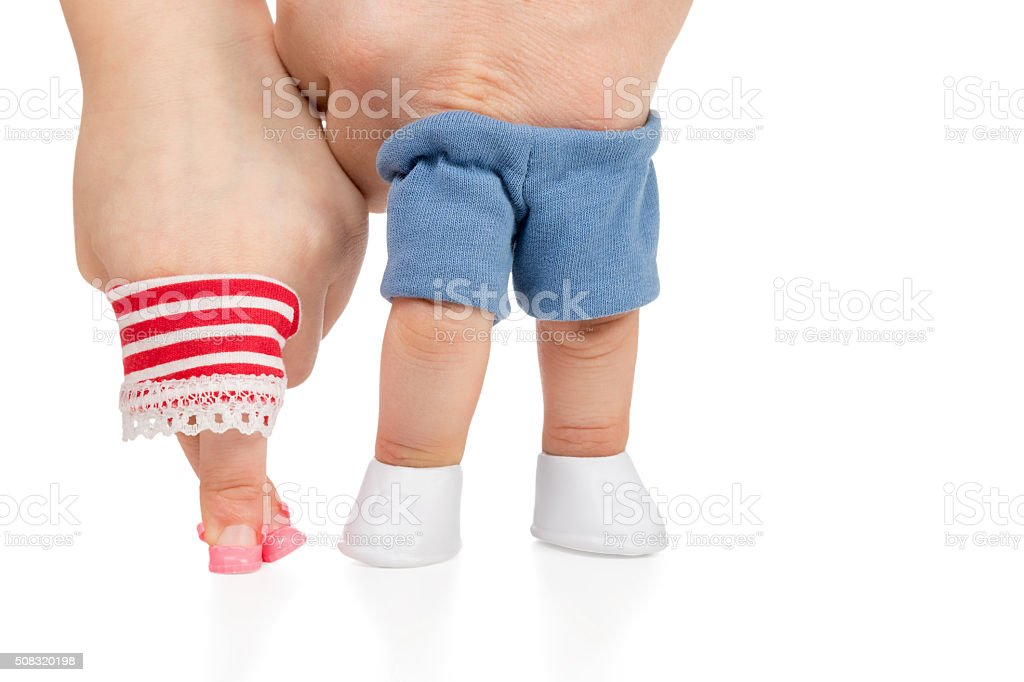 Children girl and male hands stock photo