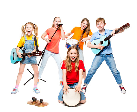 Children Group Playing on Music Instruments, Kids Musical Band Isolated over White Background