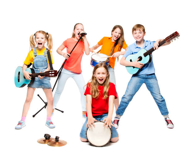 Children Group Playing on Music Instruments, Kids Musical Band on White stock photo