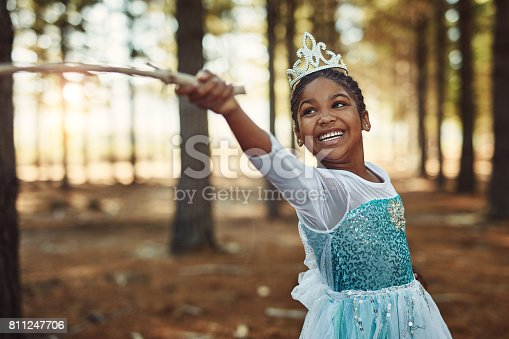 Shot of a little girl dressed up as a princess and playing in the woods