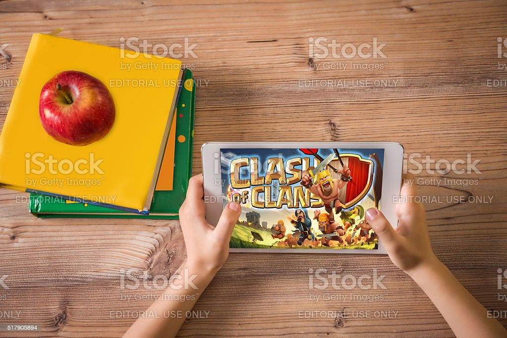 children hands and digital tablet stock photo