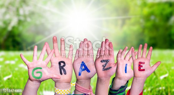 516544386 istock photo Children Hands Building Word Grazie Means Thank You, Grass Meadow 1215474505