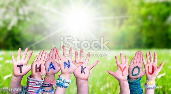516544386 istock photo Children Hands Building Word Thank You, Grass Meadow 1224112021