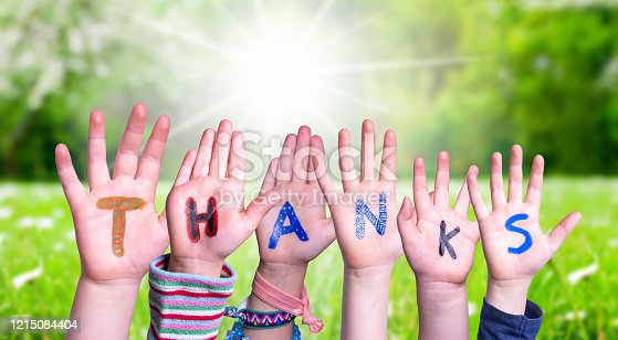 516544386 istock photo Children Hands Building Word Thanks, Grass Meadow 1215084404