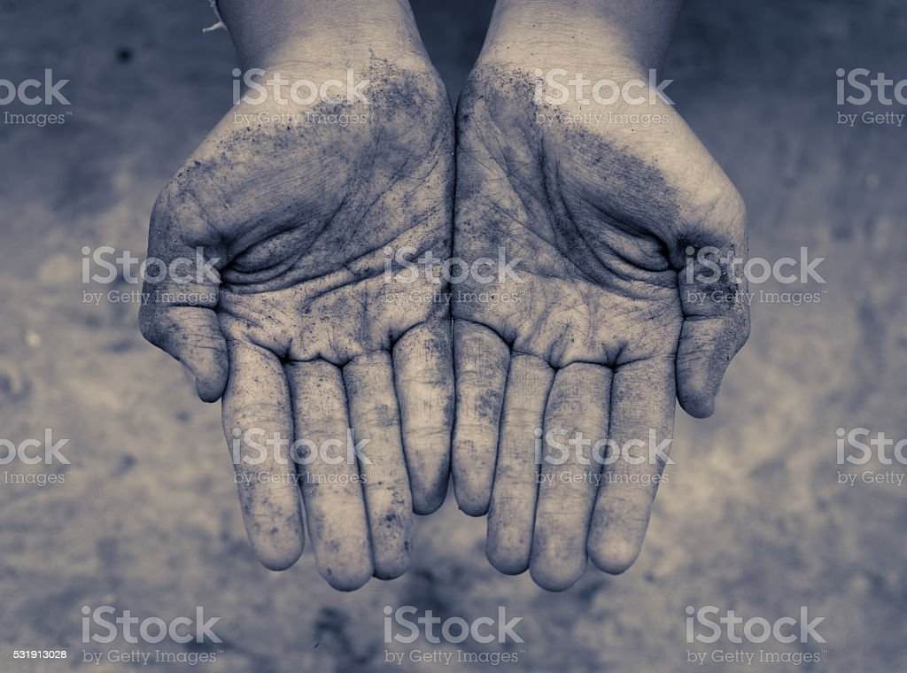 Children hands dirty , vintage tone stock photo