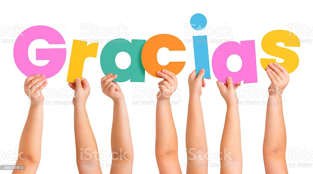 Children Hands holding the letters of the word GRACIAS royalty-free stock photo
