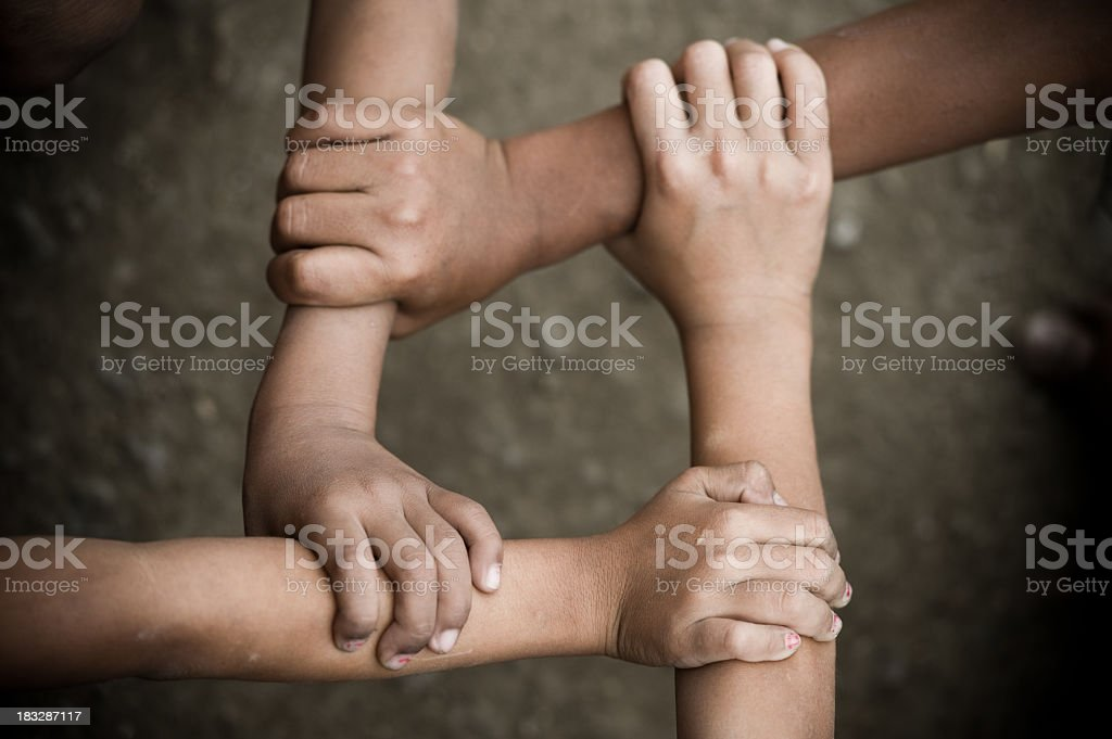 Children hands united together stock photo