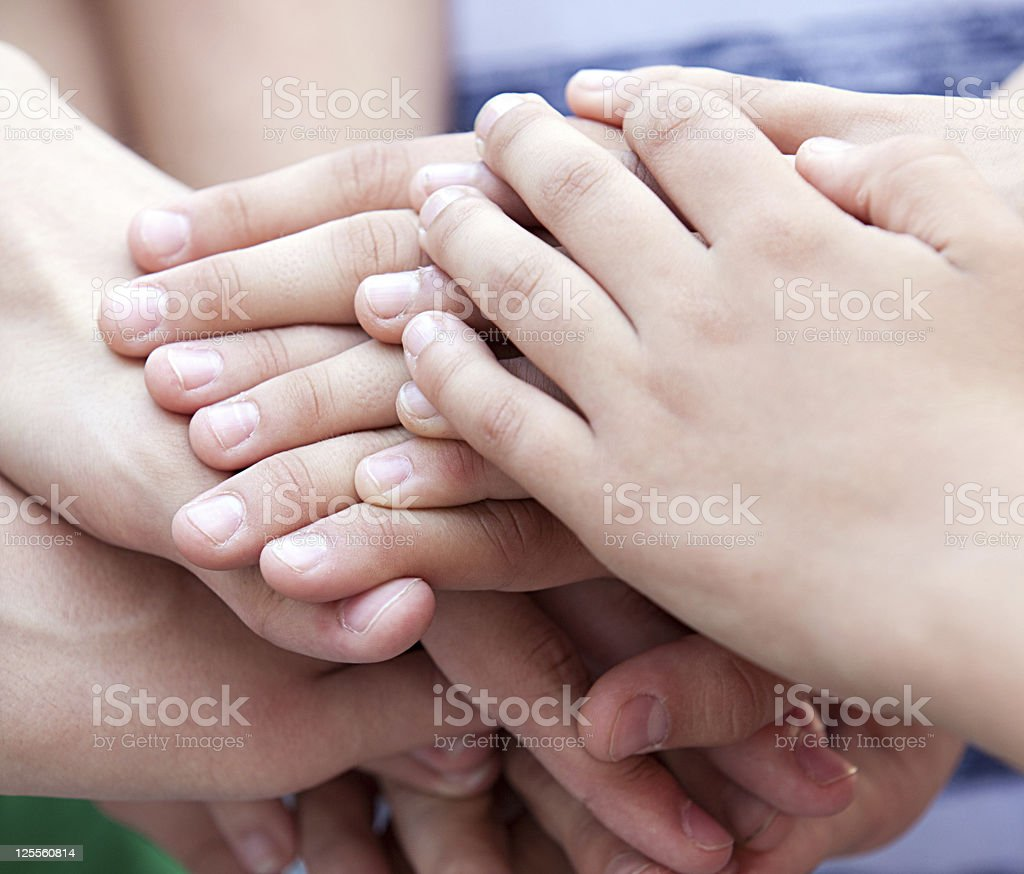 Children have combined hands together royalty-free stock photo