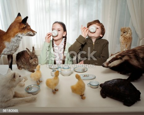 istock Children having a tea party with animals 56180565
