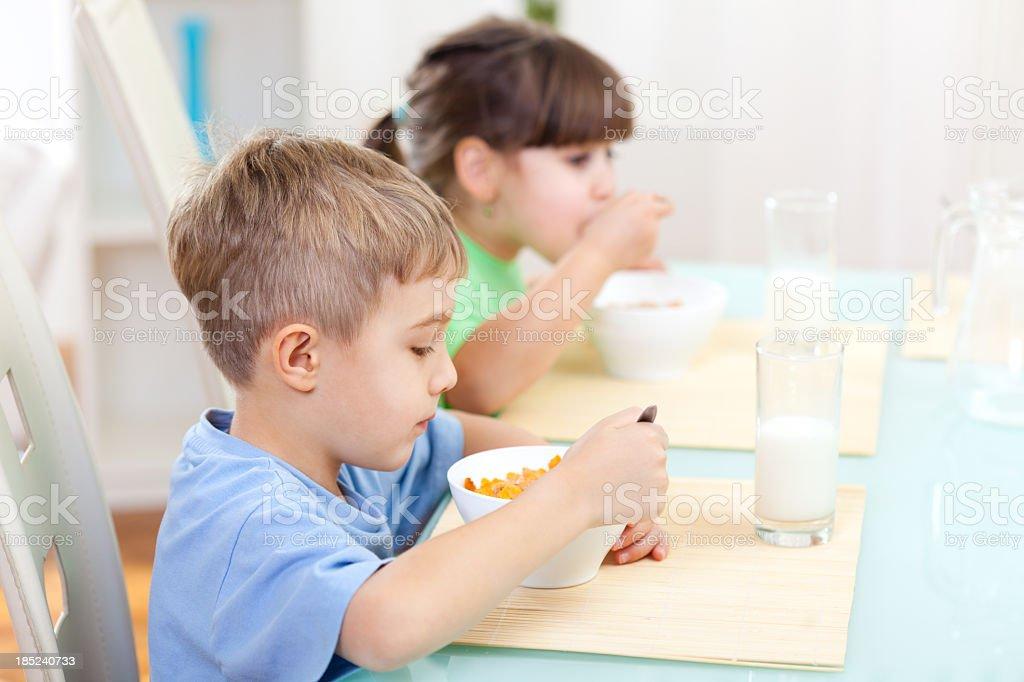 Children having breakfast royalty-free stock photo