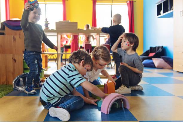 Children having crafting activity stock photo