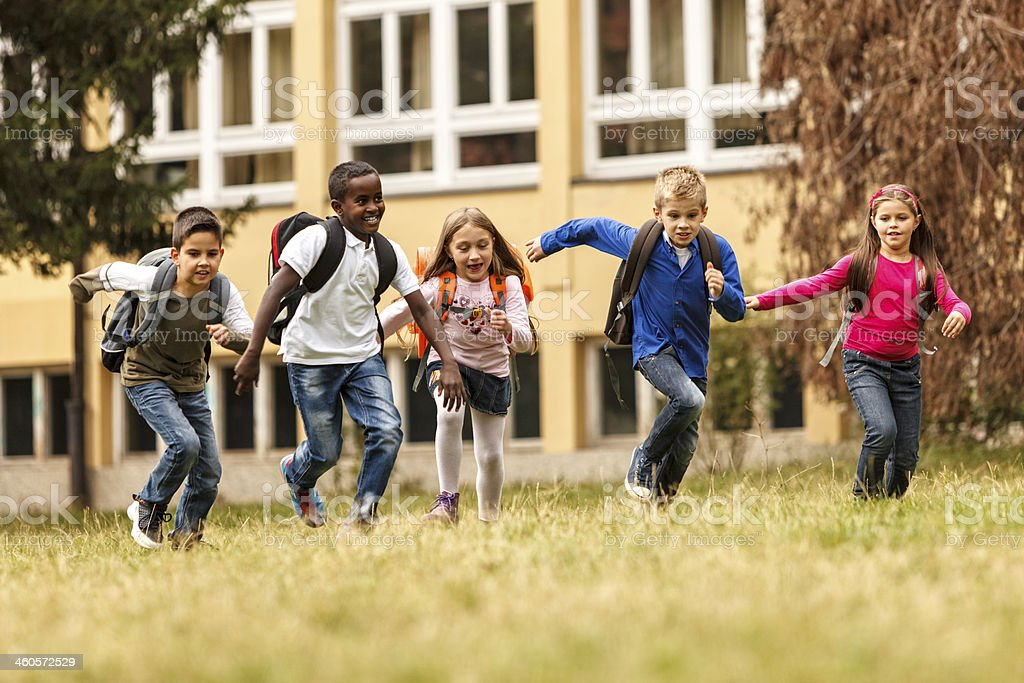 Children having fun after school stock photo