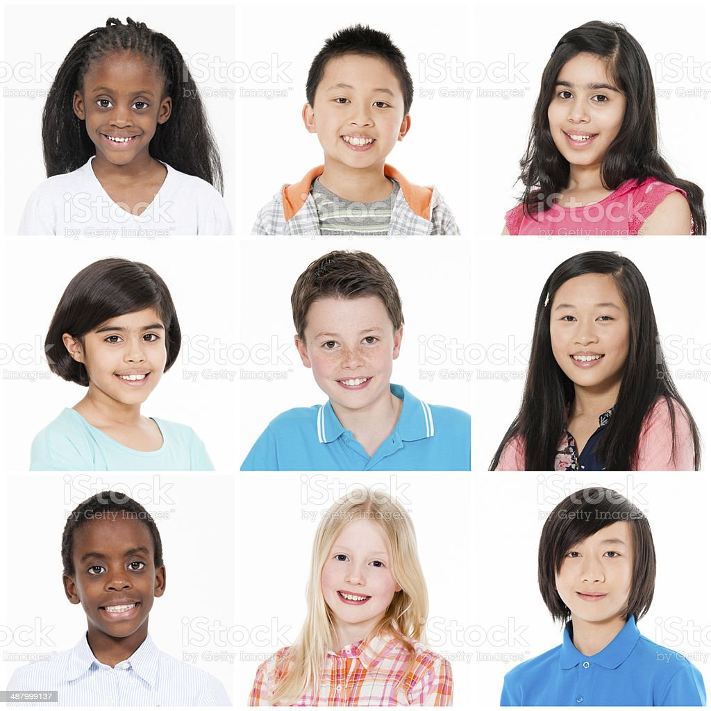 Headshot portraits of children of different races and ethnicity from...