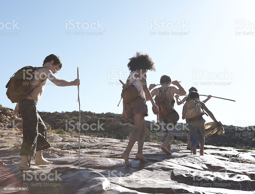 Children (10-13) hiking, low angle view royalty-free stock photo