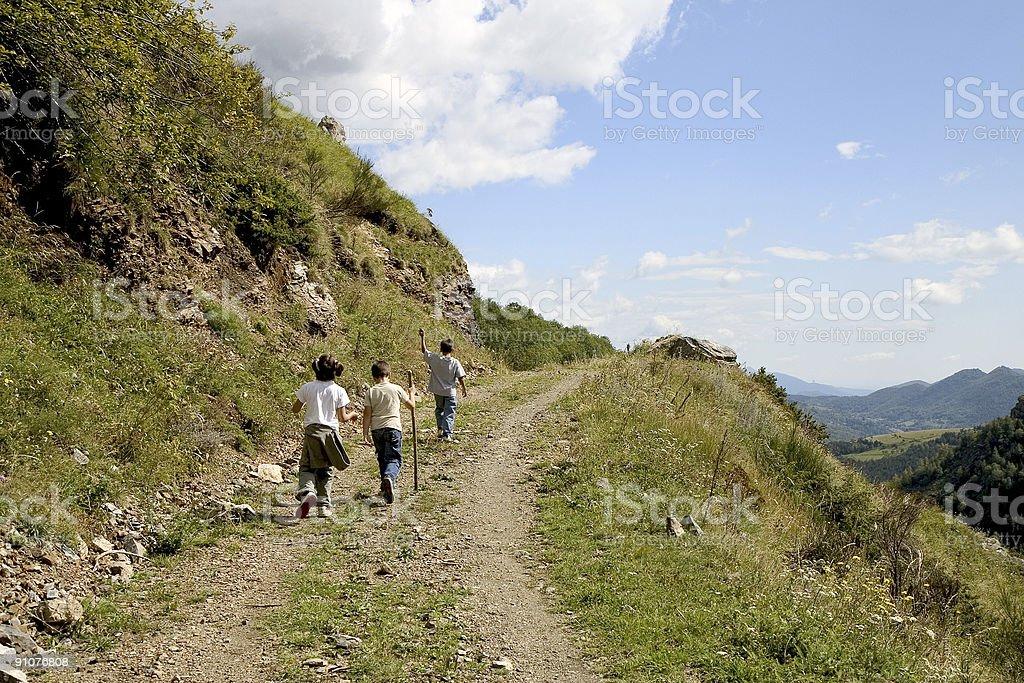 Children hiking stock photo