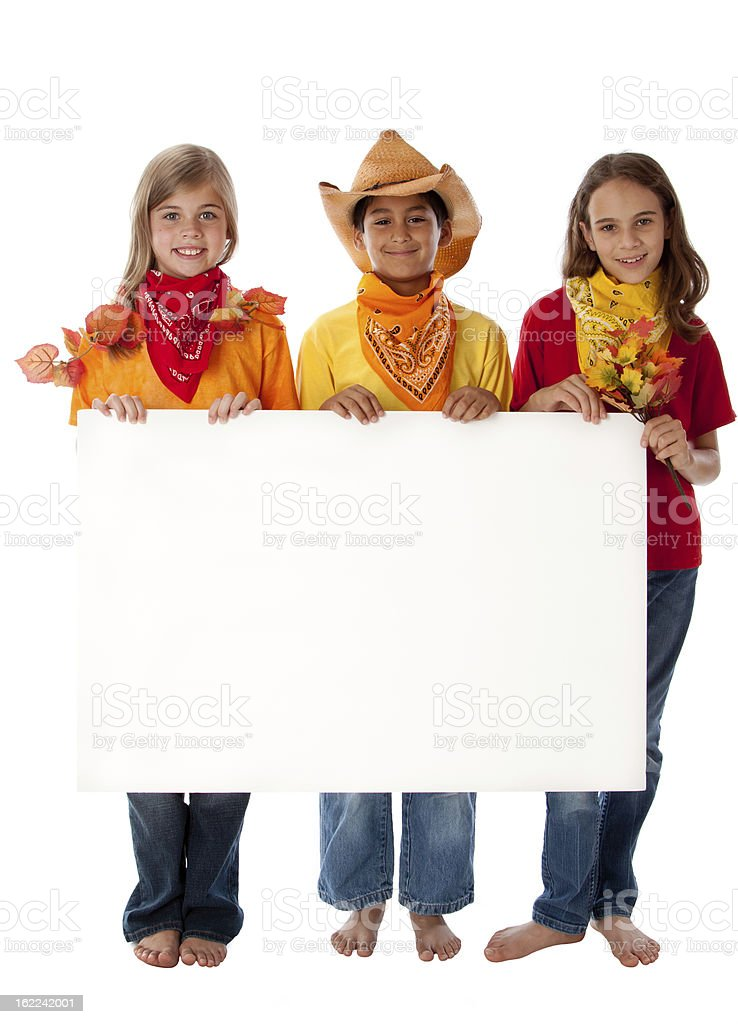 Children Holding Blank Sign for Autumn Fall Season royalty-free stock photo