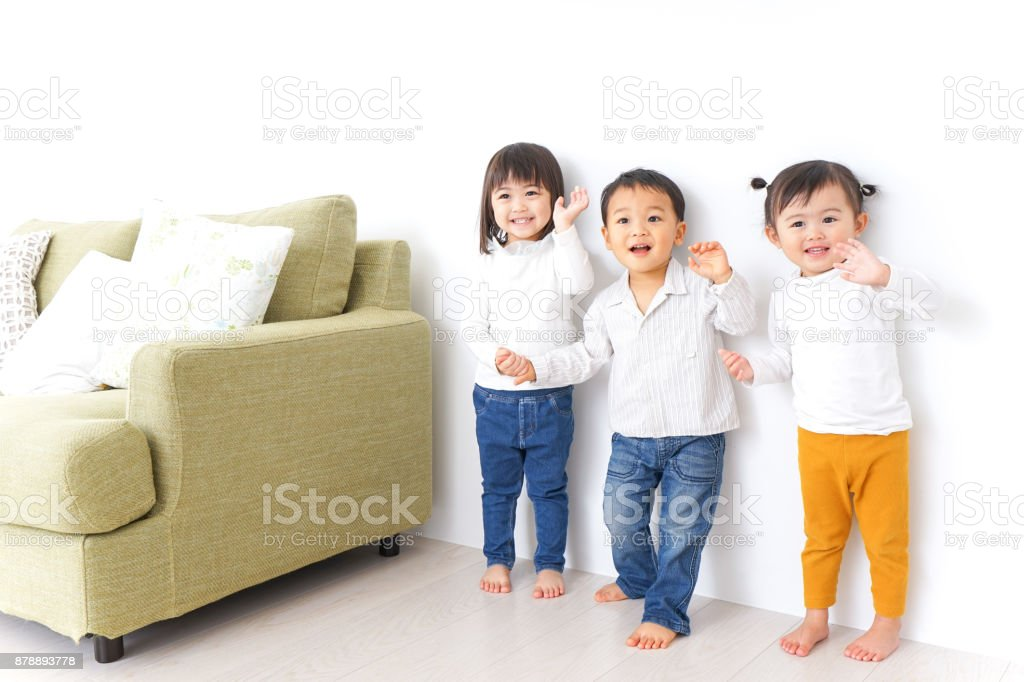 Children holding hands each other stock photo