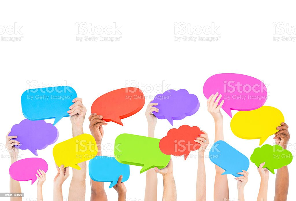 Children holding up colorful thought bubbles royalty-free stock photo