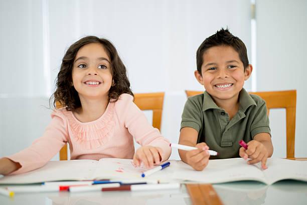 Children Home Schooling stock photo