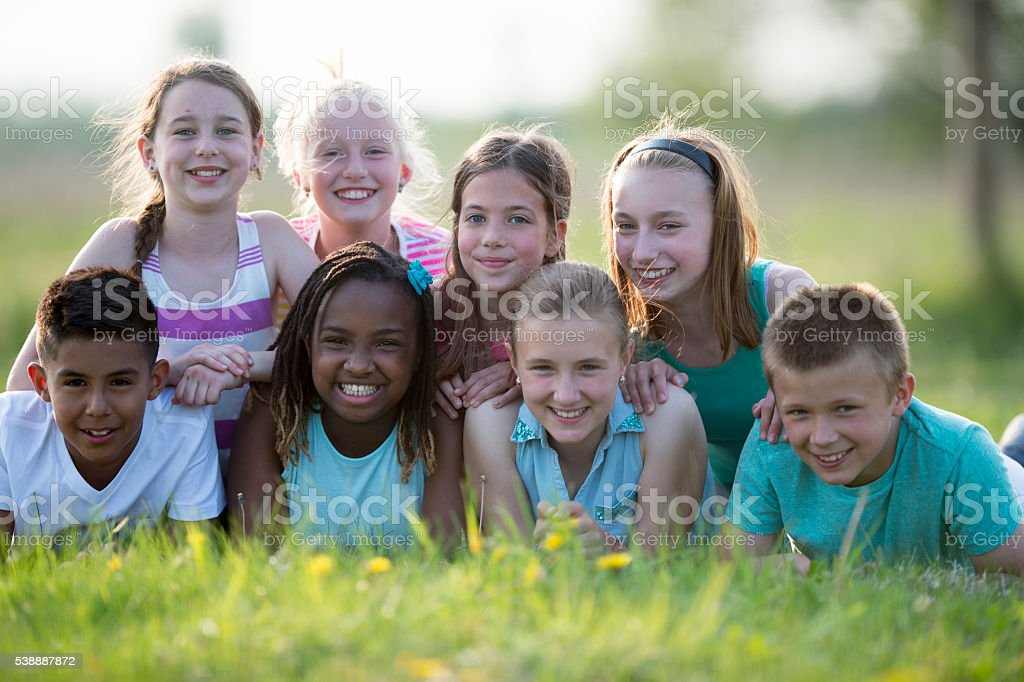 Children in a Dog Pile stock photo