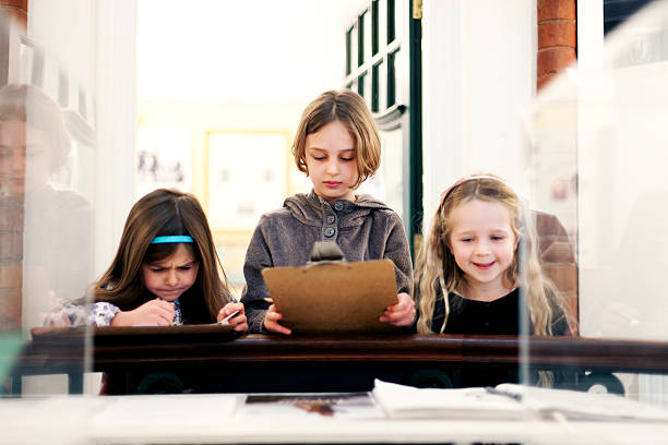 Children in a museum stock photo