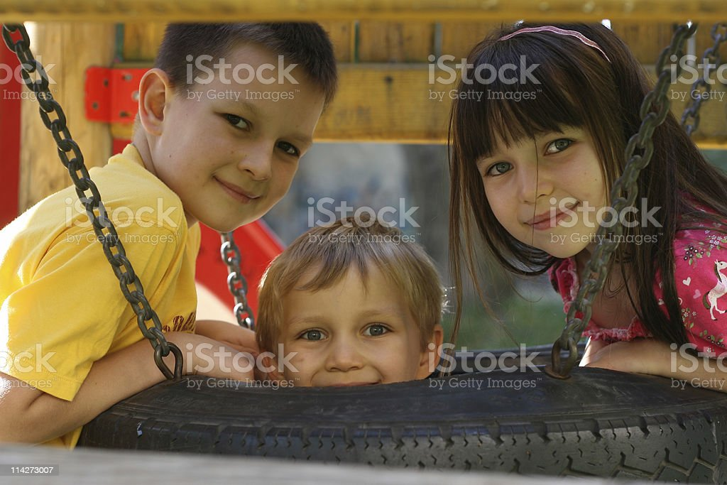children in a park royalty-free stock photo