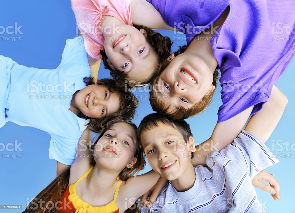 Children in circle outside royalty-free stock photo