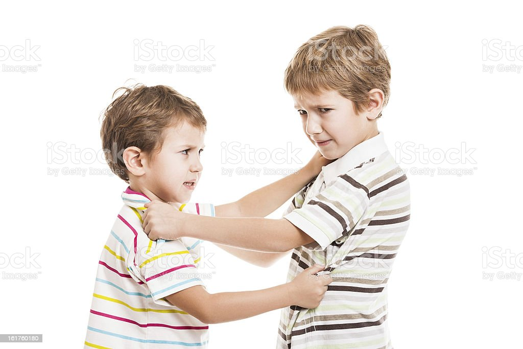 Children in conflict fight royalty-free stock photo