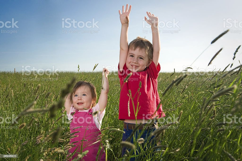 Children in Field royalty-free stock photo
