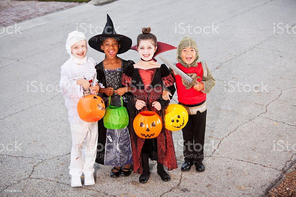 Children in halloween costumes royalty-free stock photo