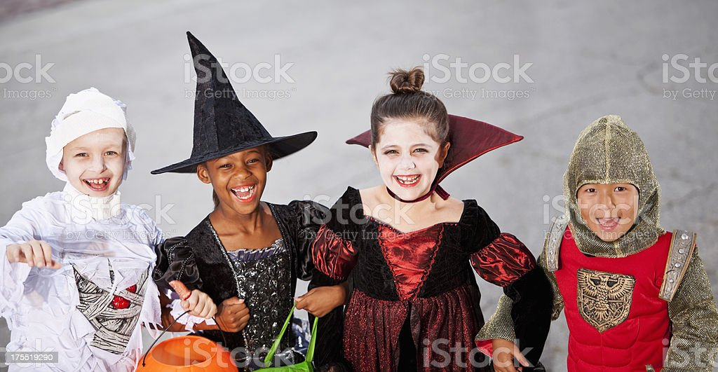 Children in halloween costumes royalty-free stock photo