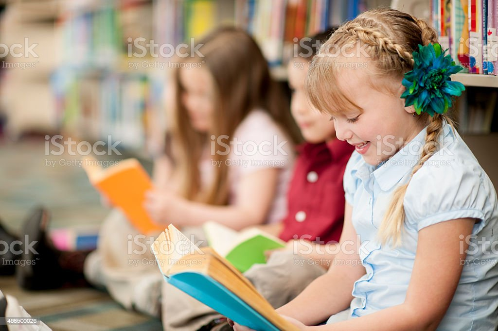 Children in Library stock photo