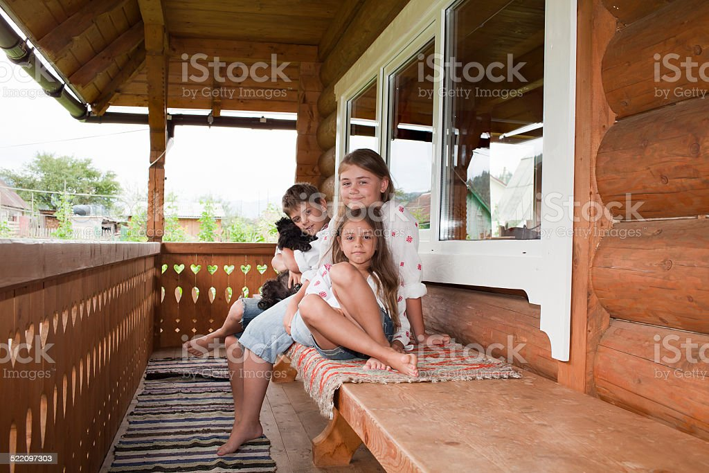 Children in national Ukrainian shirts stock photo