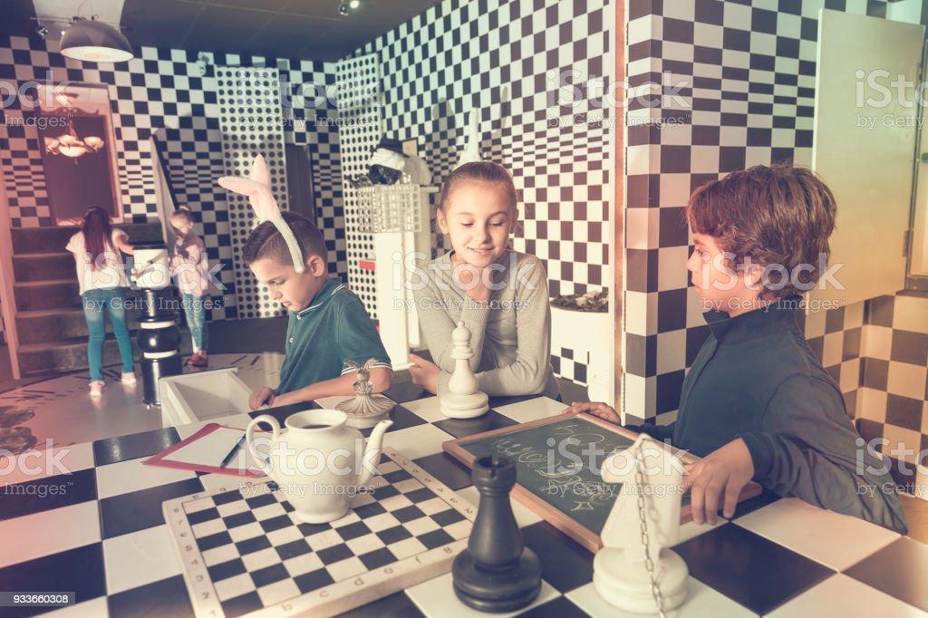 Children in quest room stock photo