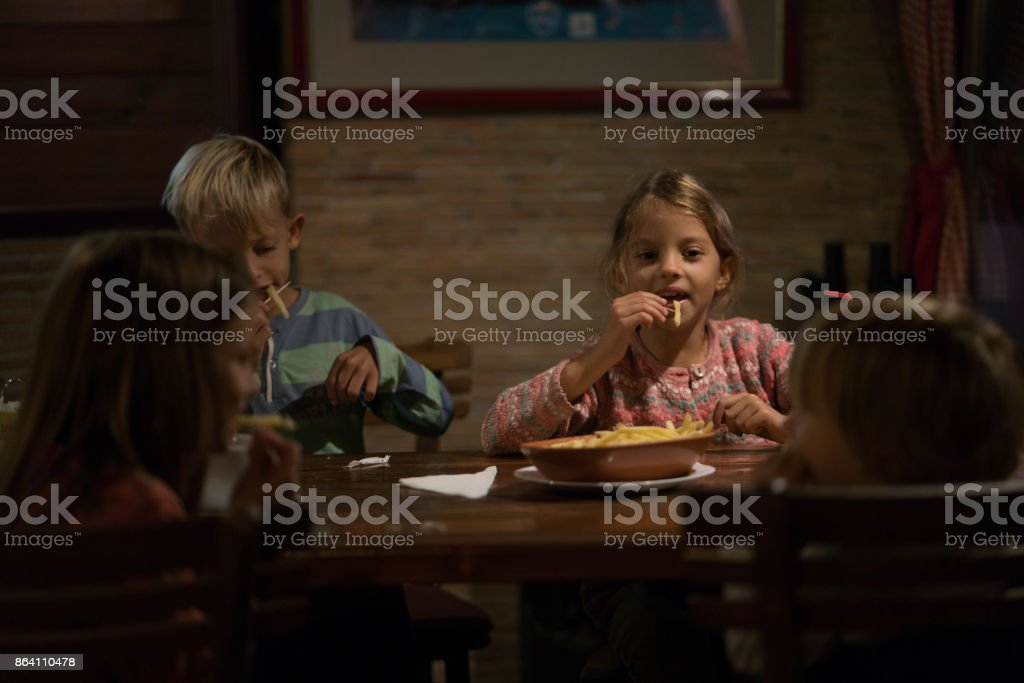 Children in restaurant royalty-free stock photo