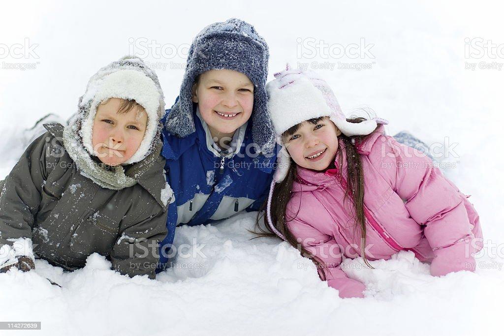 Children In Snow royalty-free stock photo