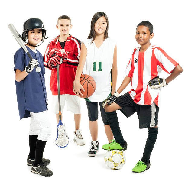 children in sports attire - isolated - baseball sport stock photos and pictures