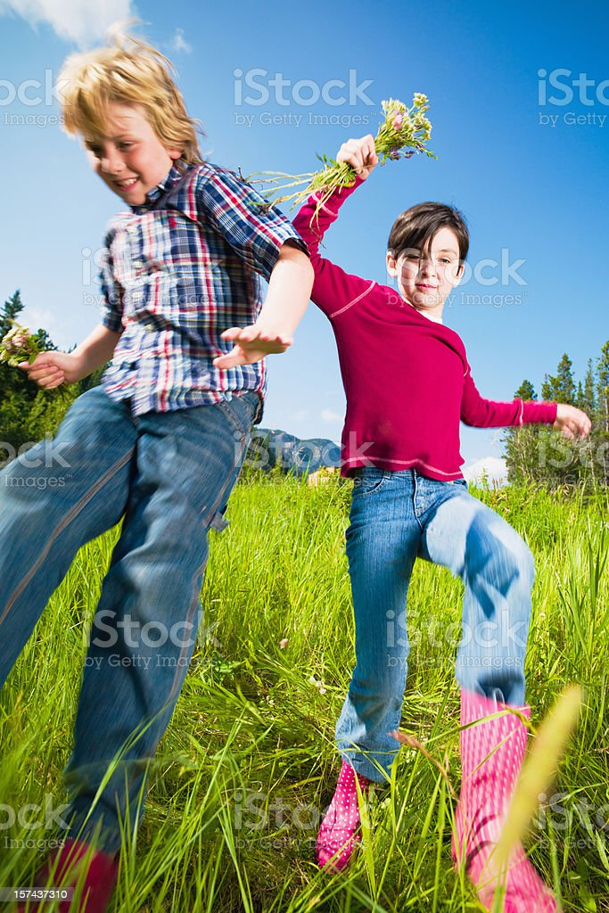Children in summer having fun, jumping down green meadow stock photo