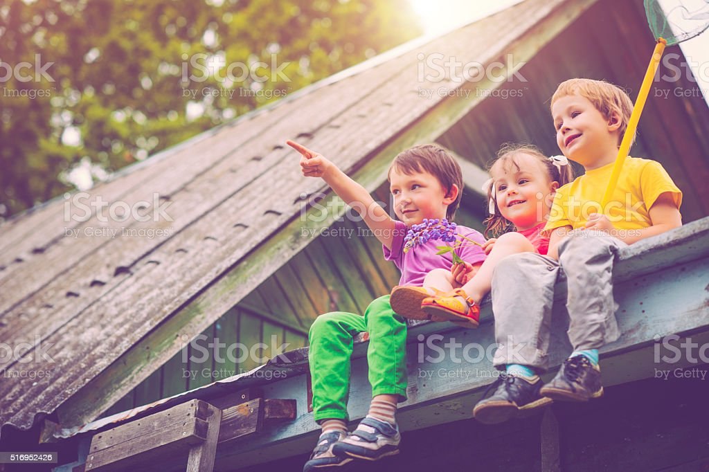 Children in summer stock photo