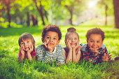 Children in the park in summer