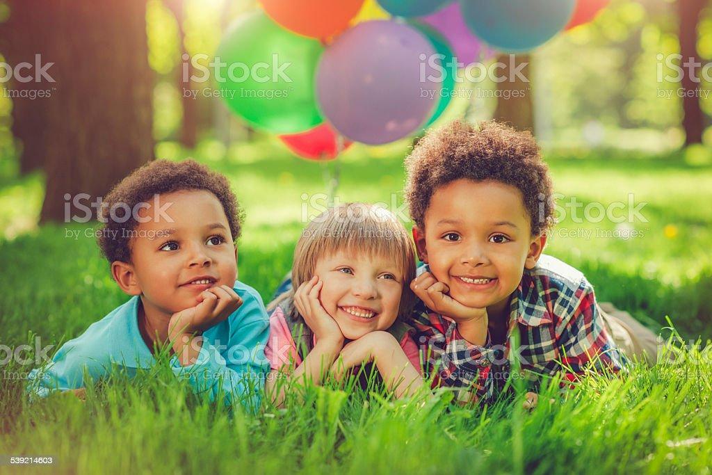 Детей в летний стоковое фото
